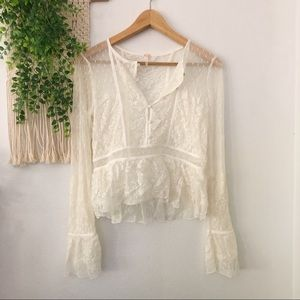 FREE PEOPLE Sheer Lace Boho Bell Sleeve Blouse